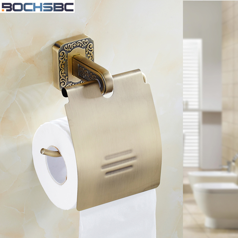 BOCHSBC Carved Dark Toilet Paper Holder Antique Palace Luxury Noble Design  Towel Roll Paper Holder Toilettenpapierhalter Kupfer