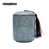 Crackle Glaze Ceramic Kitchen Storage Bottle Jars Tea Sugar Salt Coffee Beans Jars Tea Canister Storage