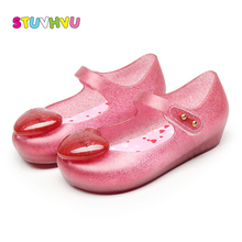 9e3cc8f107e4 Mini SED Crystal Shoes 2018 Girls Sandals Heart Sequins Shoe Summer Girl  Children Jelly Shoes Candy