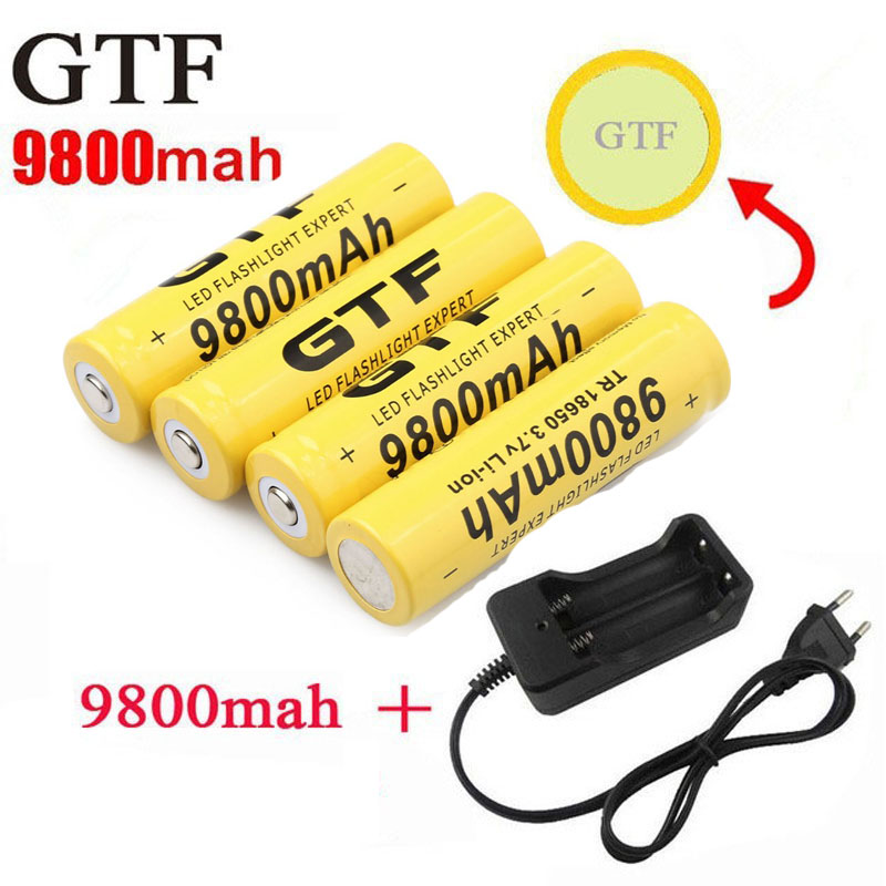 GTF 18650 Battery 9800mAh 3.7V Li-ion Rechargeable Batteries For Flashlight + EU Li-ion Battery Charger accumulator battery 18650 rechargeable 3600mah li ion batteries yellow pair