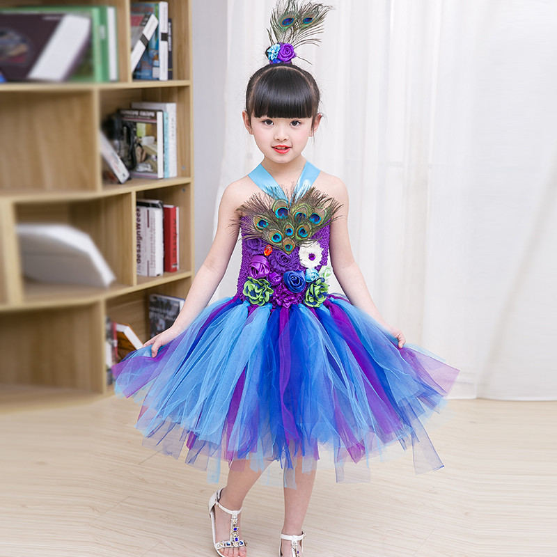 Peacock Feather Flower Girl Tulle Tutu Dress Pageant wedding dress girls Peacock costume for Halloween party Purim costume