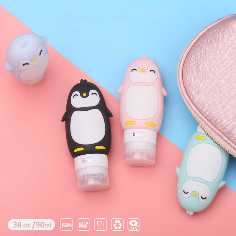 1PC Makeup 90ML Cute Penguin Travel Food-grade Silicone Bottles Shampoo Shower Gel Lotion Sub-bottling Tube Squeeze Empty Bottle
