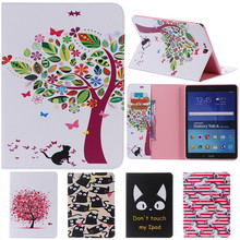 Cute Cartoon Flower Card Slot Stand Flip PU Leather Coque Case For Samsung Galaxy Tab A 9.7
