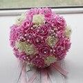 2017 Невесты Свадебный Букет Новый Дешевые Кот и Розовый Свадебные Цветы Свадебные Букеты Искусственные Свадебный Букет Роз