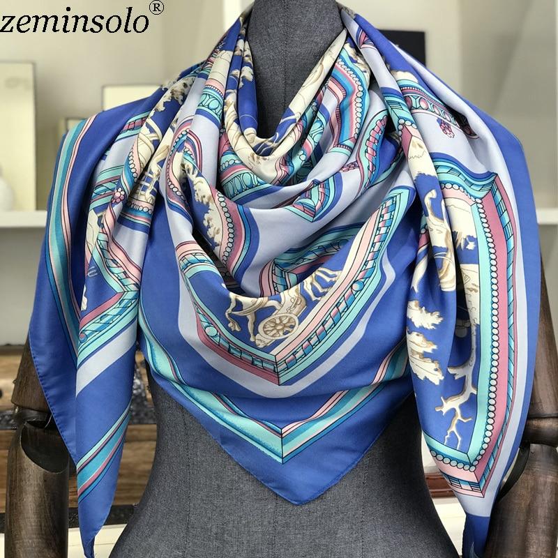 Poncho Silk   Scarf   Women Luxury Brand Foulard Hijab Square   Scarves   Fashion Horse Print   Wraps   Colorful Bandana Shawl 130*130cm New