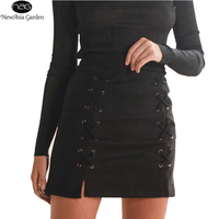 Hot Sale Lace Up Women S Suede Skirts Winter Autumn Spring Casual High Waist Pencil Skirts