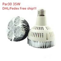 20 шт./лот, DHL Бесплатная доставка супер яркий PAR30 E27 светодиодный пятна вниз свет 35 Вт Светодиодный лампа светодиодный освещения AC100-240V светод...