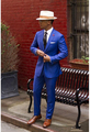 Classic Royal Azul Noivo Smoking Barato Slim Fit Lapela Entalhado 2016 do baile de Finalistas Do Casamento Do Vintage Homens Terno (jacket + Pants + tie)