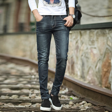 2016 Autumn new arrival male slim fit fashion casual denim pencil pants stylish scratched mid waist