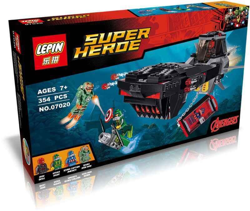 354 шт. Железный череп подводная лодка атака Капитан Америка Гидра хэнчман Набор строительных блоков 76048 Совместимость с Lego