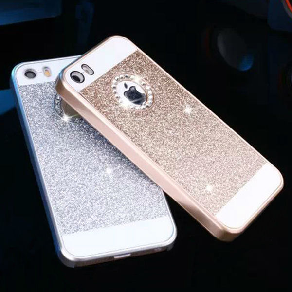 5s Bling Rhinestone Case For IPhone 5 Apple Logo Clear Luxury Gold Silver Fashion Mobile Phone Cover Hard Cases IPhone5 S In Fitted From