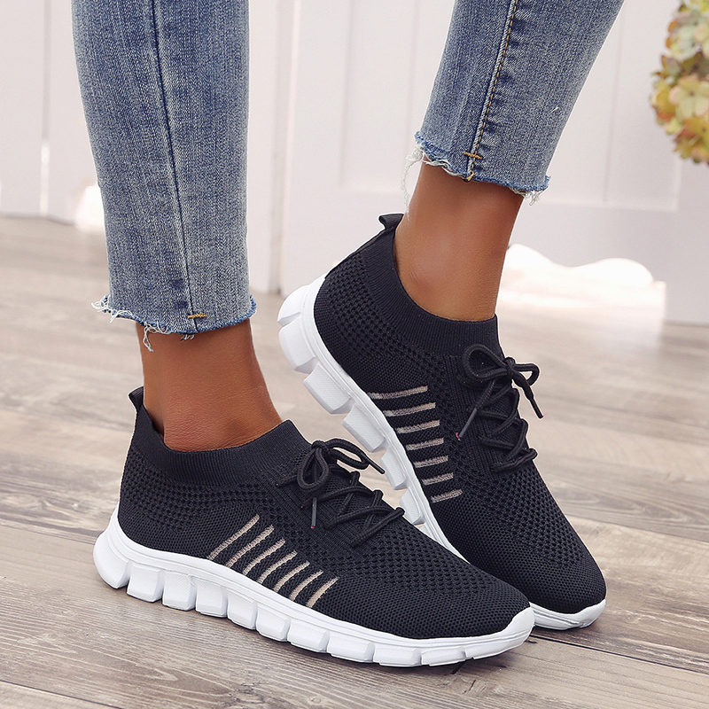 Women 39 s Sneakers Flat Mesh Knitting Spring Women Shoes 2019 Plus Size Female Vulcanized Ladies Slip On Breathable Casual Shoes in Women 39 s Flats from Shoes
