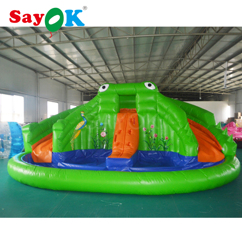2018 Outdoor PVC kids inflatable water slide and slip with pool, frog shape inflatable water pool sale