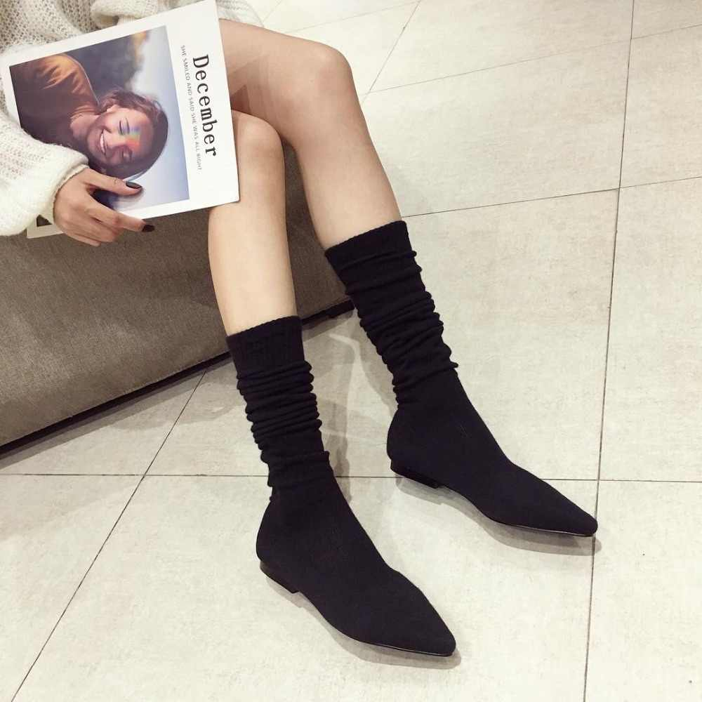 fd9658be89 ... Over The Knee Women Boots Autumn Winter Boots Fashion Knitting Sock  Boots Pointed Toe Flats Shoes ...
