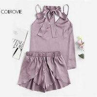 COLROVIE Neck Tie Detail Sleeveless Cami And Wrap Shorts Pajama Set 2017 Purple V Neck Spaghetti Strap Sexy Two Piece Set
