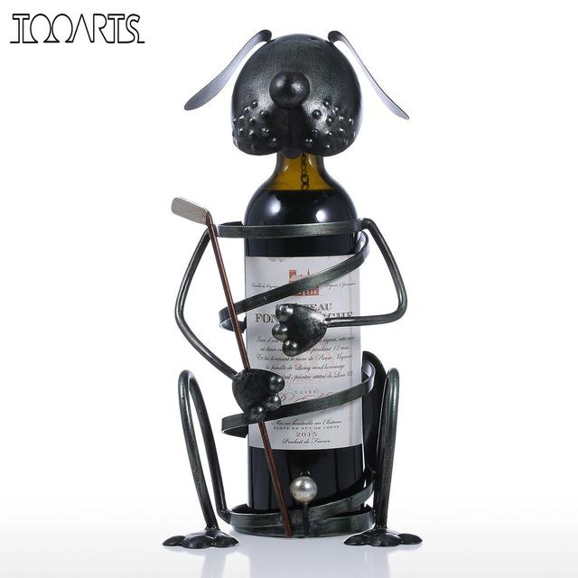 Tooarts Puppy Wine Rack Figurines with Golf Modern Mini Animal Home Decor Creative Practical Craft Home Decoration Accessories
