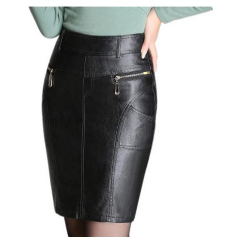 2019 Spring Autumn Womens High Waist Pu Leather Pencil Skirts M/4XL Female Ol Skirt Black Zipper Casual Leather Skirt Saia K570