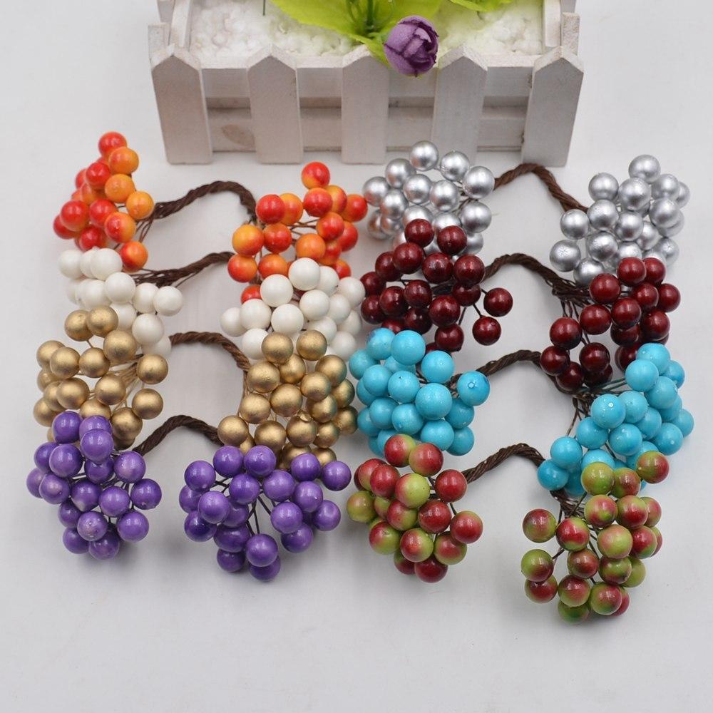 20 штук 40 глав искусственный цветок Mini Berry Бакка букет для Свадебные украшения DIY Скрапбукинг декоративный венок поддельные цветы