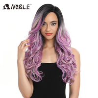 Noble Hai Synthetic Wig Long Wavy Pink Purple Cosplay Wig 22 Inch Wigs for Black Women Synthetic Lace Front Wig Heat Resistant
