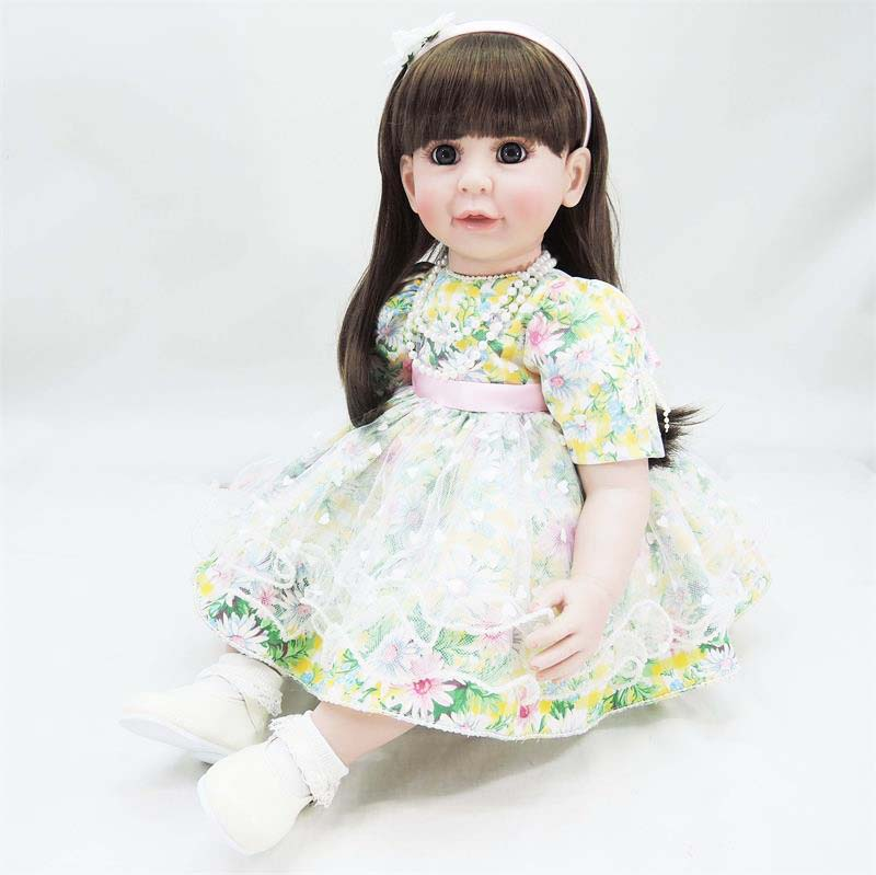 New Designed 22 Soft Vinyl Lifelike Baby Girl Doll Adora Princess Toddler Doll in Green Lace Dress for Girl Doll Toys Brinquedo lifelike american 18 inches girl doll prices toy for children vinyl princess doll toys girl newest design