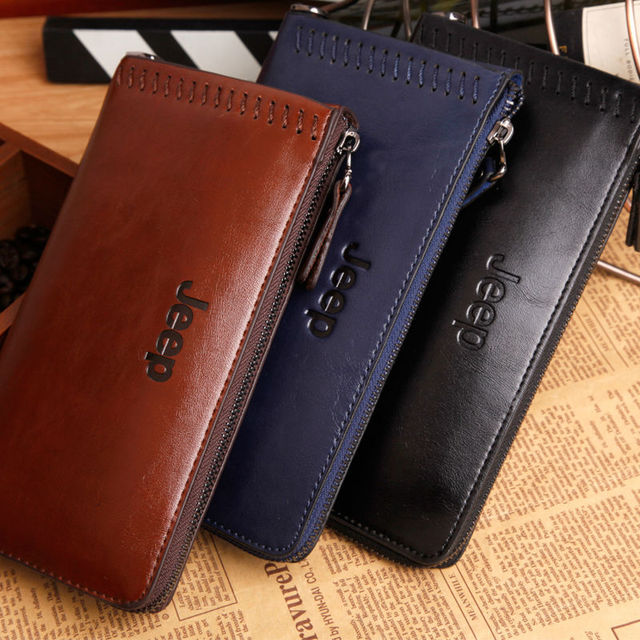 New fashion brand men wallet genuine leather famous long wallets big size zipper business coin purse card holders handbags gift