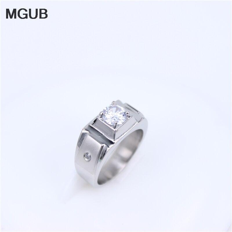 MGUB Stainless steel Rings Men 2017 Fashion Punk Jewelry Cubic Zirconia Mens Engagement Wedding Ring HL298