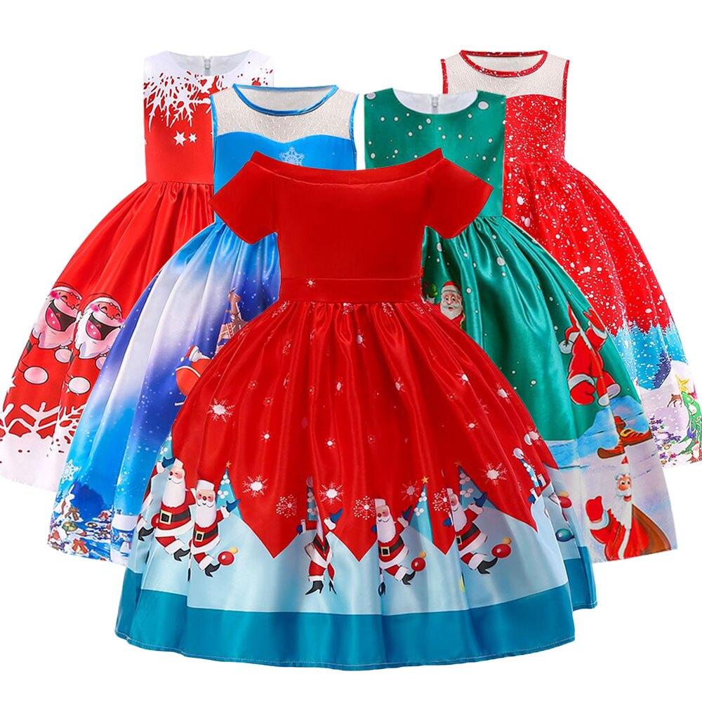 Vestidos de fiesta de año nuevo de disfraces de Navidad de princesa para niñas