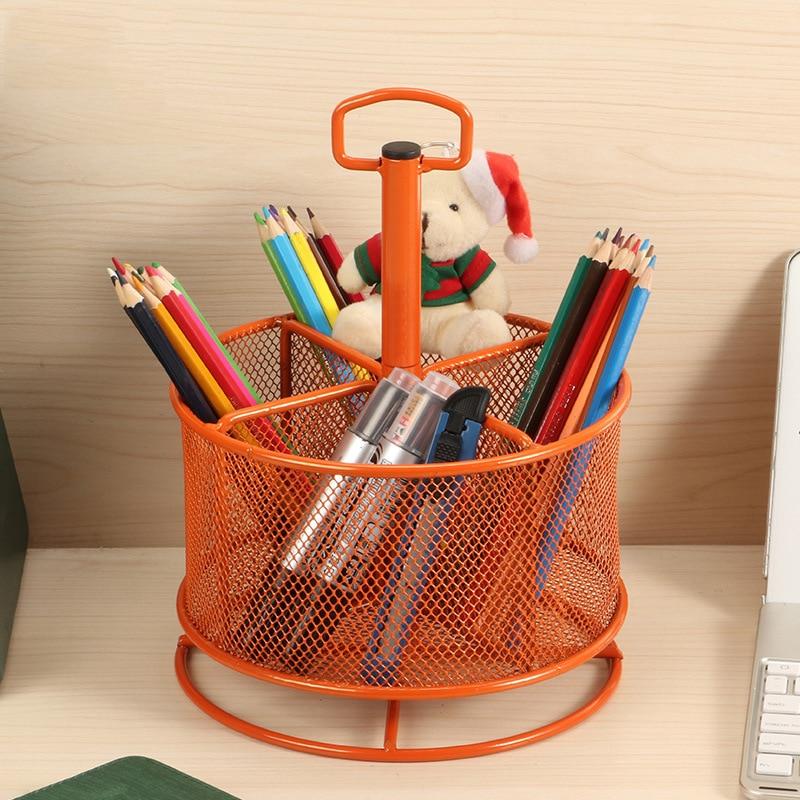 Support de stockage rotatif multifonctionnel de porte-stylo en métal support créatif de stockage d'équipement de bureau à la maison de bureau