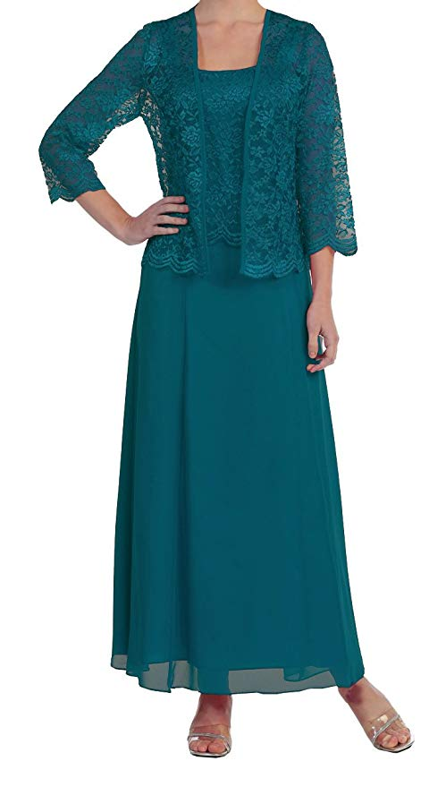 2019 Women's 2 Pieces Chiffon Lace Mother Of The Bride Dress Long Sleeves With Jacket Plus Size Vestidos Madre Novia