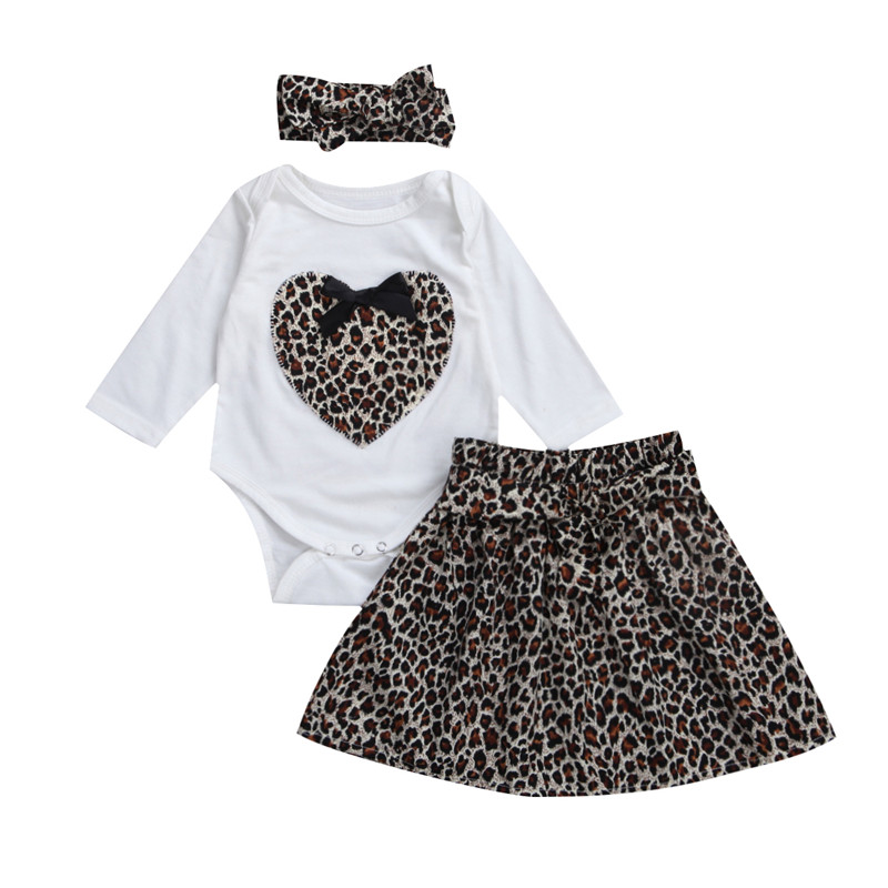 3pcs New Style Newborn Baby Girls Clothes Leopard Long Sleeve Romper+ Tutu Skirts+ Headdress Outfits Baby Clothing Set 12M to 5T