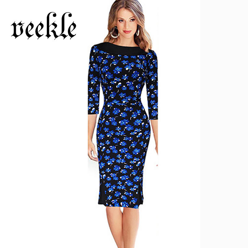 font b 3 b font 4 Sleeve Office 60s Dress Elegant Women Pencil Dress Knee 3 dots clothing promotion shop for promotional 3 dots clothing on,3 Dots Womens Clothing