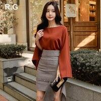 RG Women Business Two Piece Set Suits Round Neck Split Sleeve Blouse Irregular Skirt Set Suit camisetas mujer Plus Size XL 2018