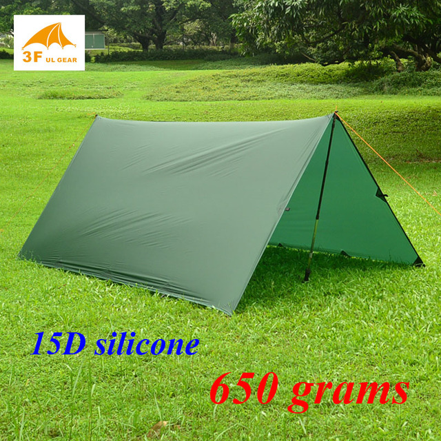 650 grams 3F ul Gear 15d silnylon 4*3 meters ultralight outdoor large tarp shelter high quality beach awning