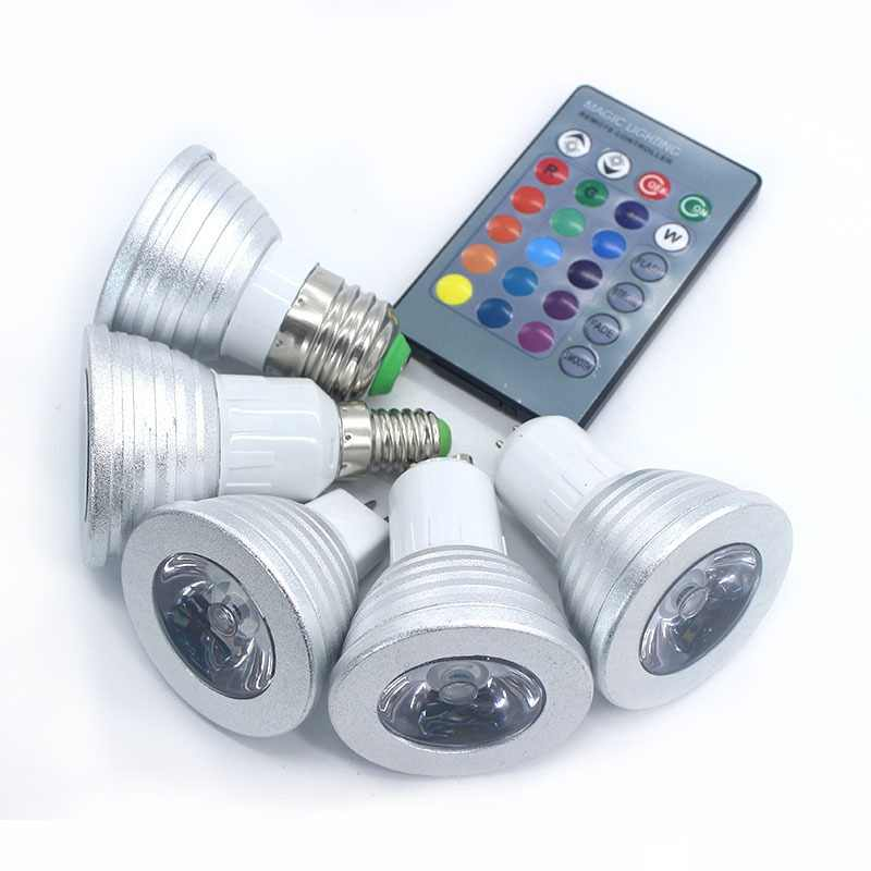 Lowest price  RGB lamp led E27 E14 GU10 GU5.3 85-265V RGB LED Bulb  RGB Spotlight with 24Keys IR Remote Controller  5W LED Lamp