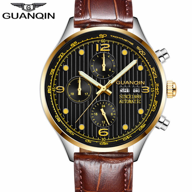 GUANQIN 2018 New Sport Watches Top Brand Luxury 5Bar Swim Automatic Watch Men Waterproof Week Calendar Leather Relogio MasculinoGUANQIN 2018 New Sport Watches Top Brand Luxury 5Bar Swim Automatic Watch Men Waterproof Week Calendar Leather Relogio Masculino