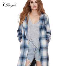 Hot sale Plaid Tweed Coats Long Loose Thick Women Coat 2017 Europe New Fashion Winter and Autumn Jacket long casaco feminino