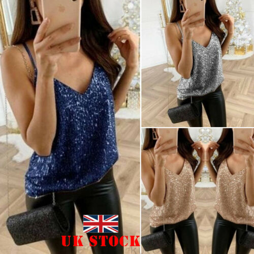 Women Sequin Sleeveless   Tank     Tops   Vest Ladies Party Sparkly Sexy Strappy Camis   Tops   Summer Casual Solid Camis Clothes 2019