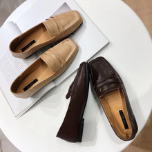 e7fcd8d6ce8 Designer Mule Shoes Women Leather Loafers Brown Flats Square Toe Platform  Low Heels Moccasins Comfortable Creepers