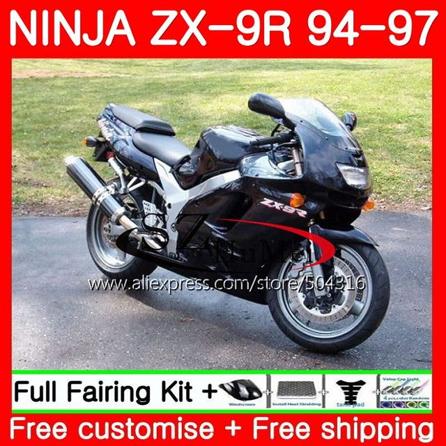 Bodys For KAWASAKI NINJA 900CC ZX 9R 94 97 Glossy Black ZX900 21SH13 9 R 95 96 ZX9R 1994 1995 1996 1997 Fairings