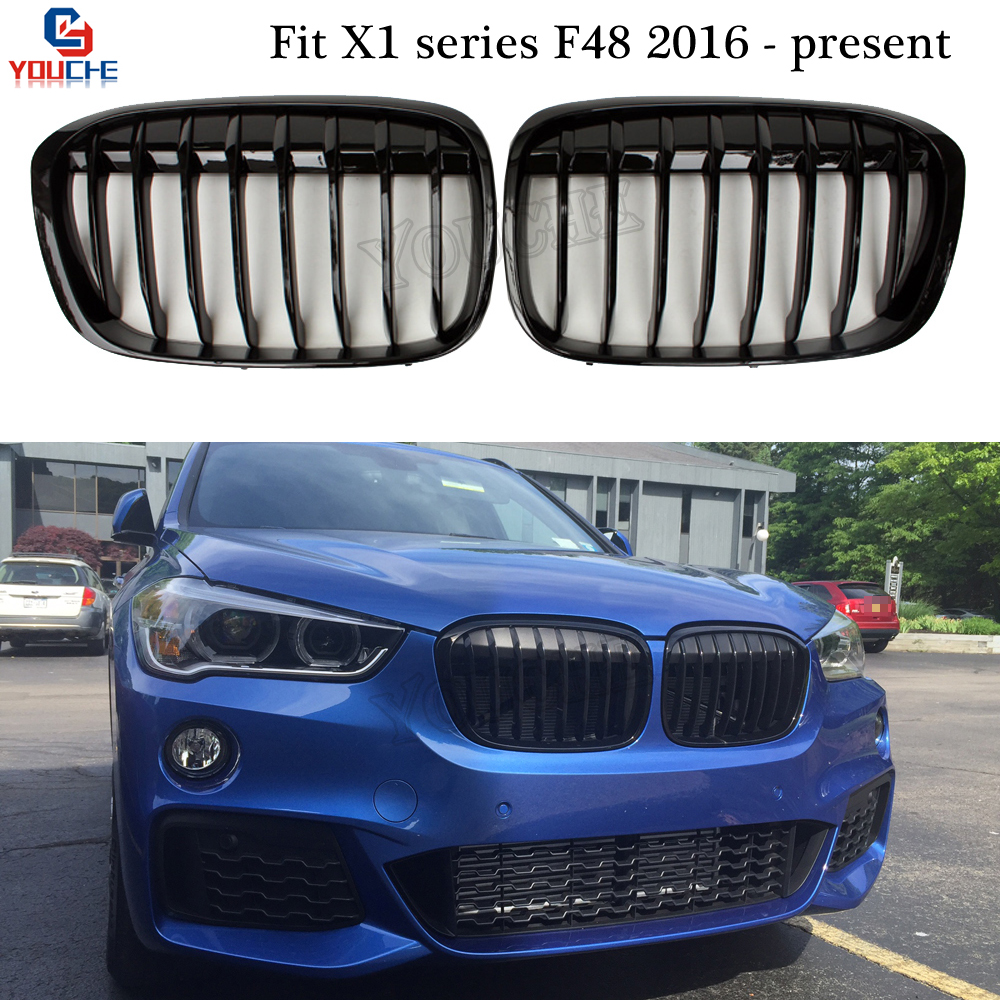X1 F48 Single Slat Gloss Black Front Bumper Grill Grills for BMW X1 5-door SUV 2016 - present F48 Kidney Grille Mesh image