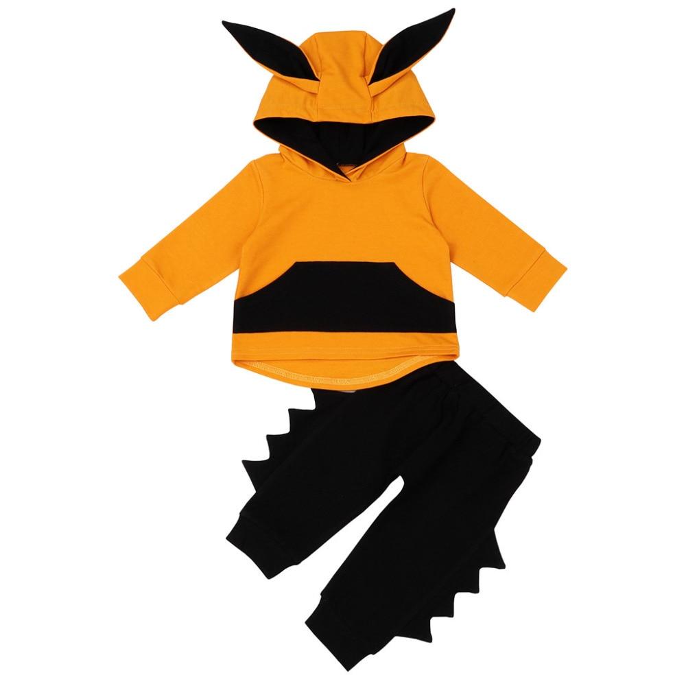 CHAMSGEND новорожденного регулярные для маленьких девочек мальчиков 3D уха свитер с капюшоном комплект со штанами и футболкой повседневная одеж...
