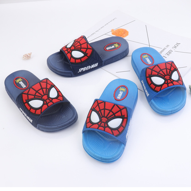 56af46fc7 2019 Baby Boys Slippers Children Pvc Rubber Cartoon Spiderman Kids Home  Sandal Shower Shoes Soft Flat Shoes Boy Sandalia 26-35