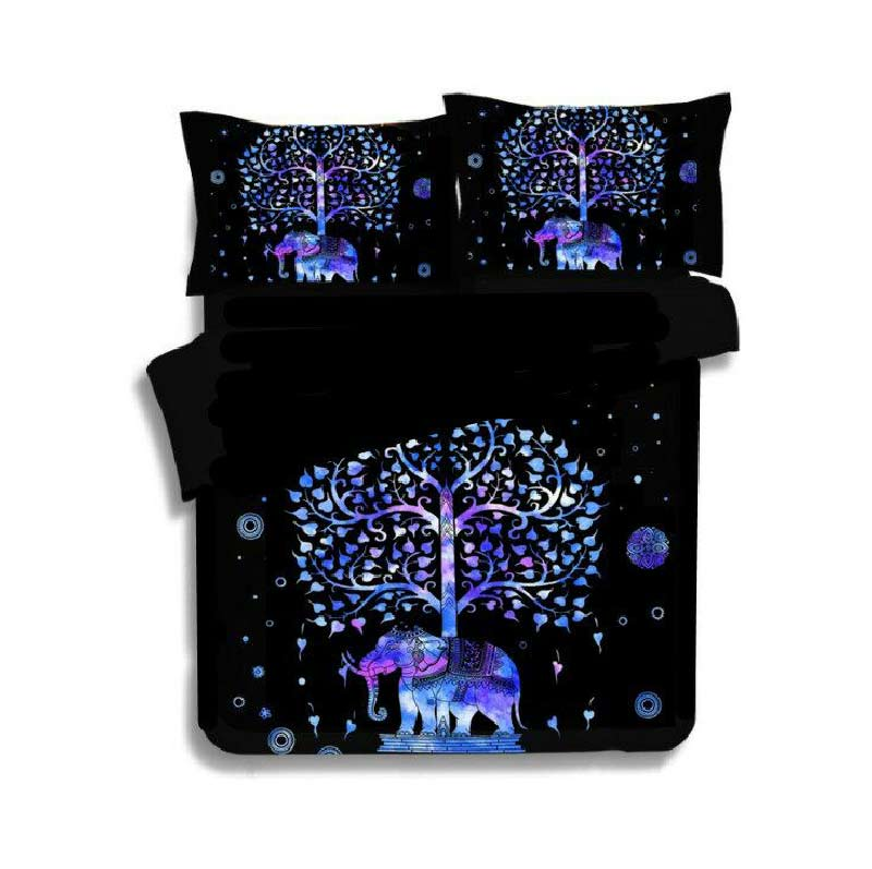 Luxury Indian Style Bedding Elephant Mandala Bedding Set 2/3pc Printed Duvet Cover Linens Pillowcase Duvet Cover Bedspreads D