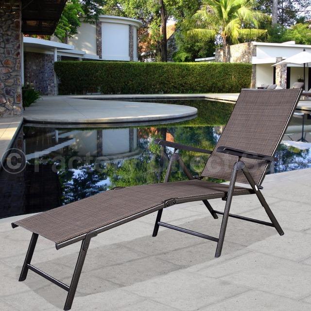 Piscina Chaise Lounge Cadeira Reclinável Mobília Do Pátio Ao Ar Livre Ajustável HW49889