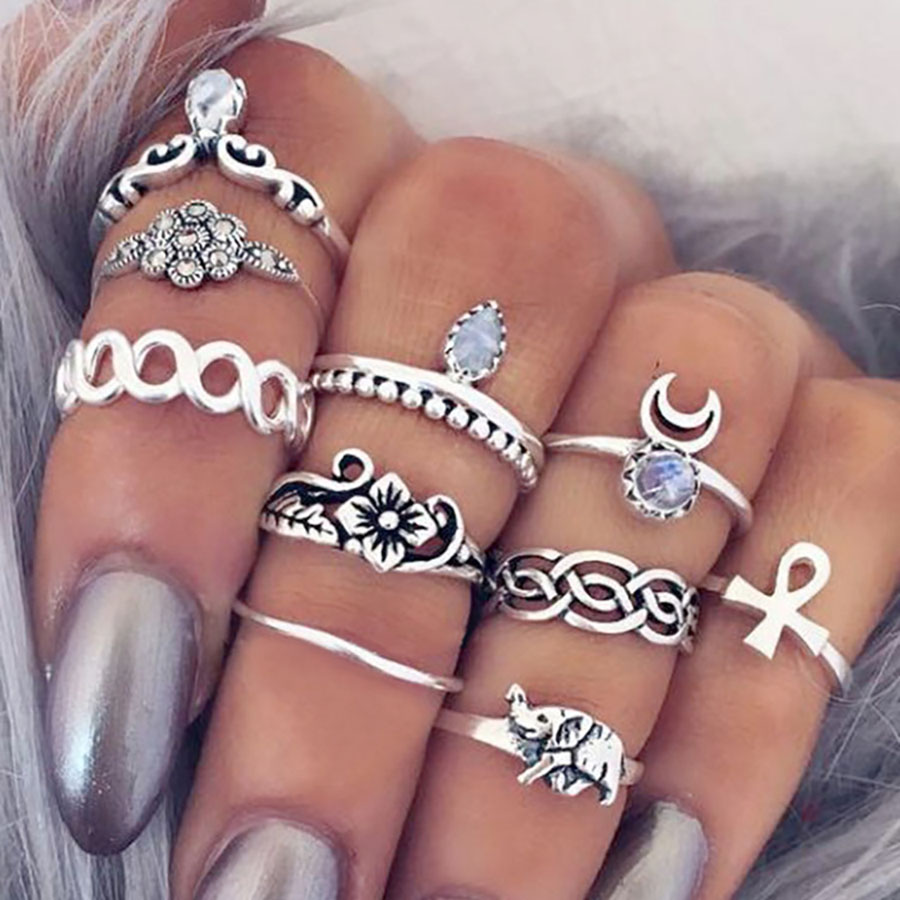 2017 mote Bohemian 10stk / mye Vintage Elephant Moon Knuckle Rings Charm Stackable Midi Rings Set of Rings for Women Anel