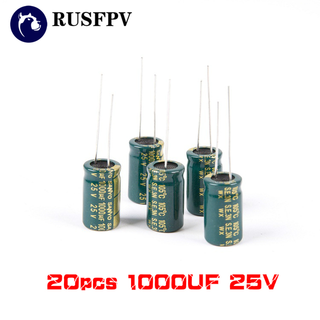 20PCS 1000UF 25V FM Internal Resistance High Frequency Capacitor for  RC FPV Racing Drone 30A 40A ESC F3 F4 F7 Flight Control