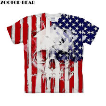 Flag Skull tshirt 3d t shirt Mens t-shirt Brand Top Tee Short Sleeve Tee Homme Camiseta Printed Tshirt 6xl Drop Ship ZOOTOP BEAR(China)