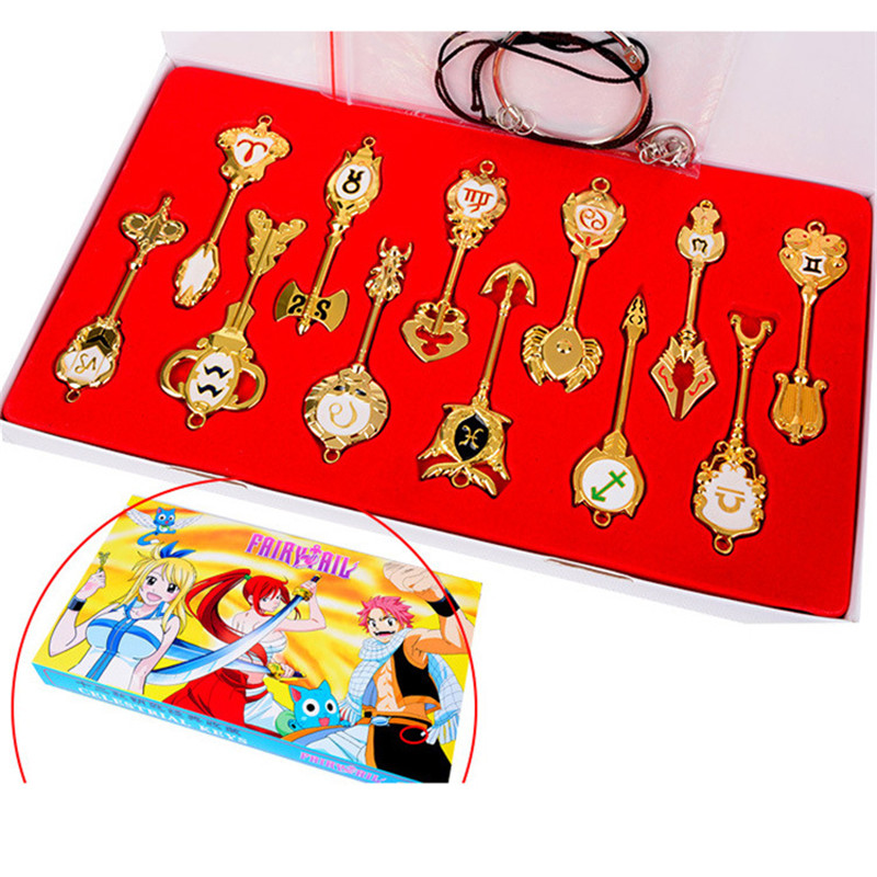 Anime Fairy Tail Lucy Heartphilia Spirit Key Figures Twelve Constellations Zinc Alloy Key Action Figures Collectible Model Toys
