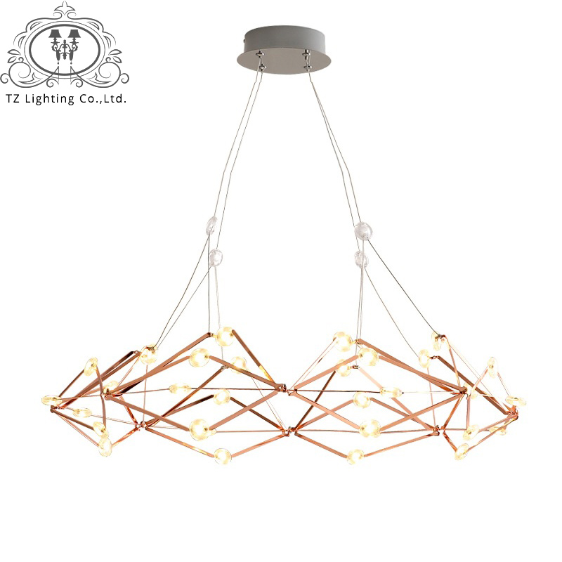 TZ Nordic Modern Geometrical LED Pendant Light Acrylic LED Beads Iron Lamp For Parlor Dining Room hanglamp suspension luminaire купить