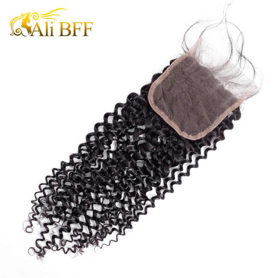 Mechones de cabello Remy peruano Ali BFF con 4*4 mechones rizados de cierre con cierre 100% mechones de cabello humano con cierre